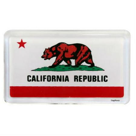 Small Acrylic Magnet - California Flag Acrylic Small Fridge Collector's Souvenir Magnet 2 inches X 1.25 inches