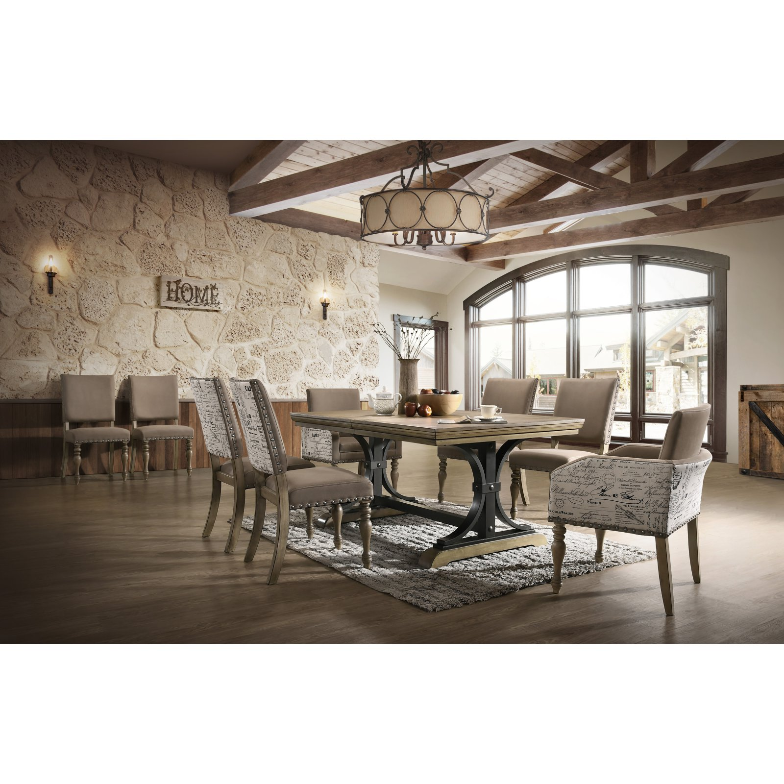 Roundhill Furniture Birmingham 9 Piece Butterfly Leaf Dining Table Set