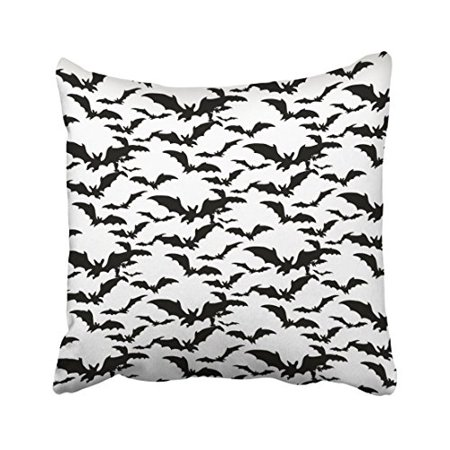 WinHome Vintage Popular Halloween Black And White Bats Print Pattern Polyester 18 x 18 Inch Square Throw Pillow Covers With Hidden Zipper Home Sofa Cushion Decorative Pillowcases](Vintage Halloween Black And White)