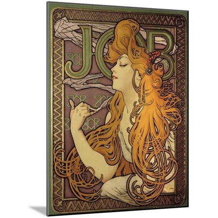 Poster Advertising the Cigarette Paper Job by Alphonse Mucha Wood Mounted Print Wall Art