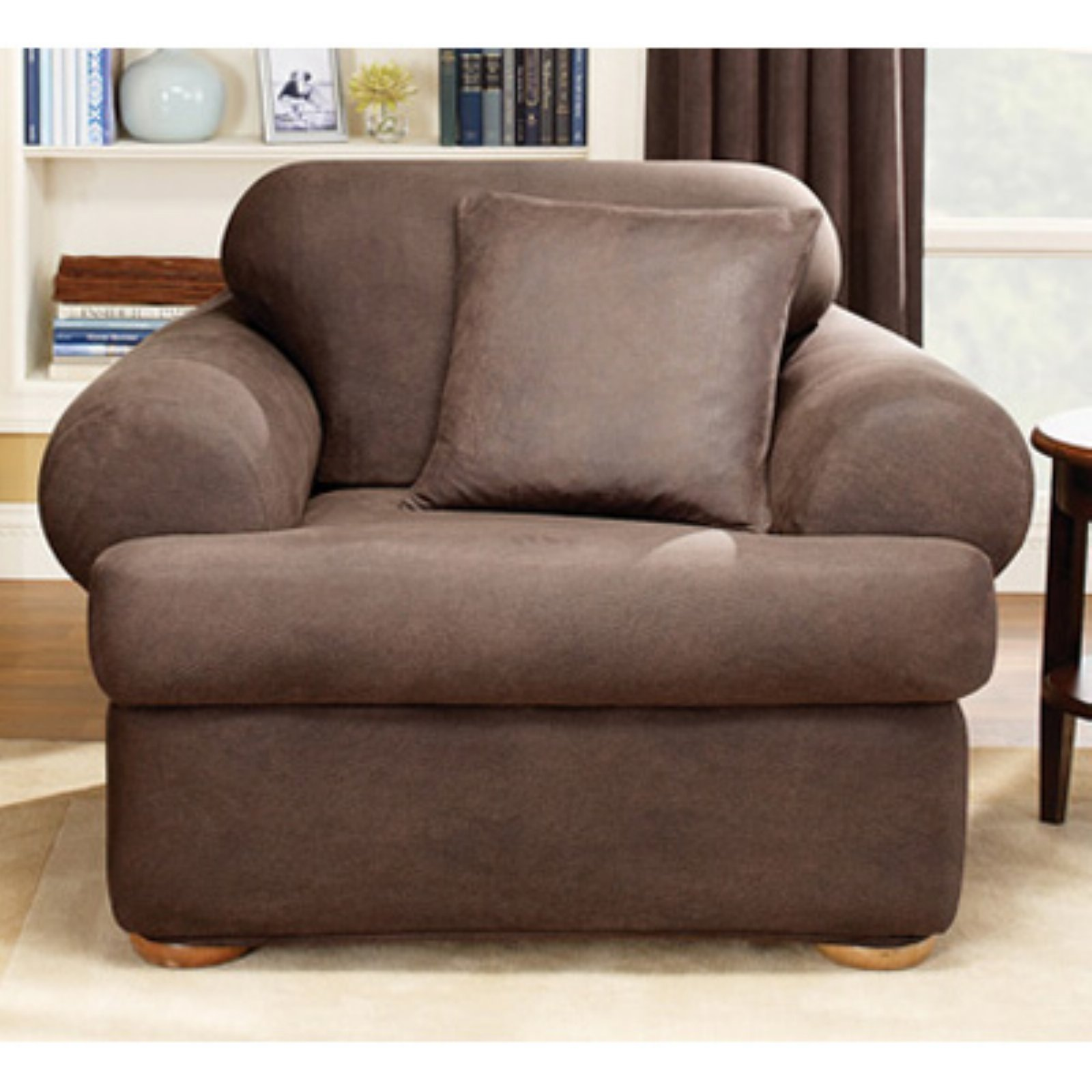 Sure Fit Stretch Leather 2 Piece T Cushion Chair Slipcover Brown
