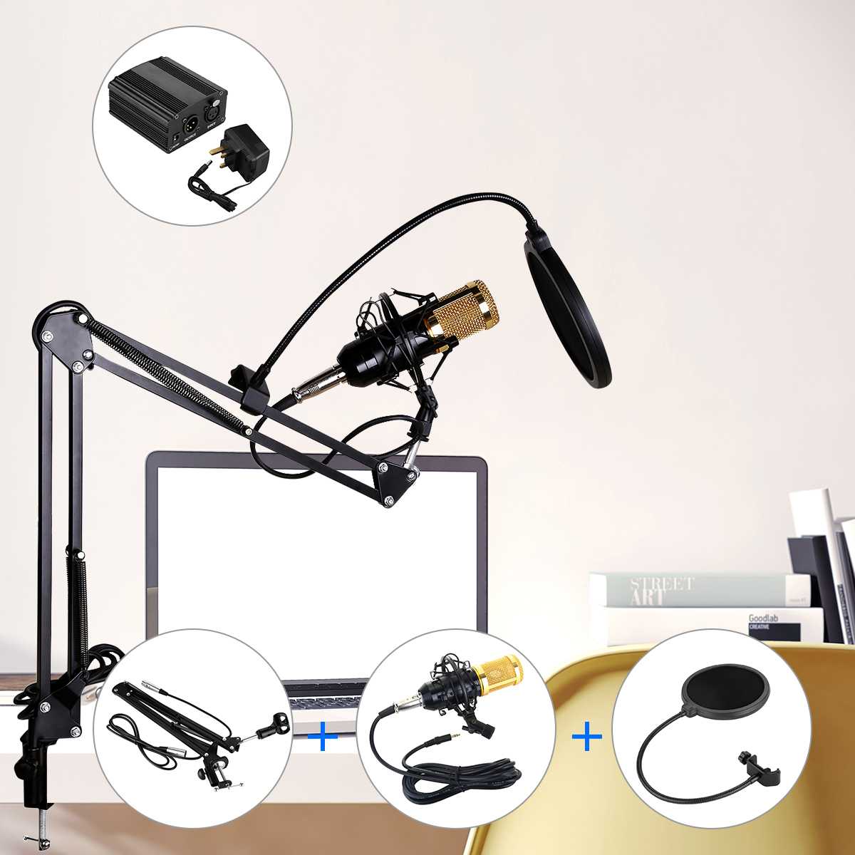 Excelvan BM-800 Desk Condenser Microphone Mic Bundle with Pop Filter Wind Screen, Arm Stand with XLR Male to XLR Female Microphone Cable for Studio Recording (Blue)