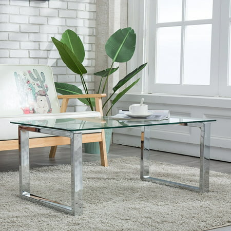 Rectangular Glass Coffee Table Side End Table Stainless Steel Living Room ()