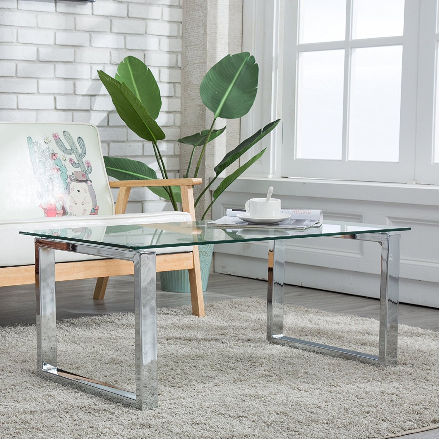 Rectangular Glass Coffee Table Side End Table Stainless Steel Living Room