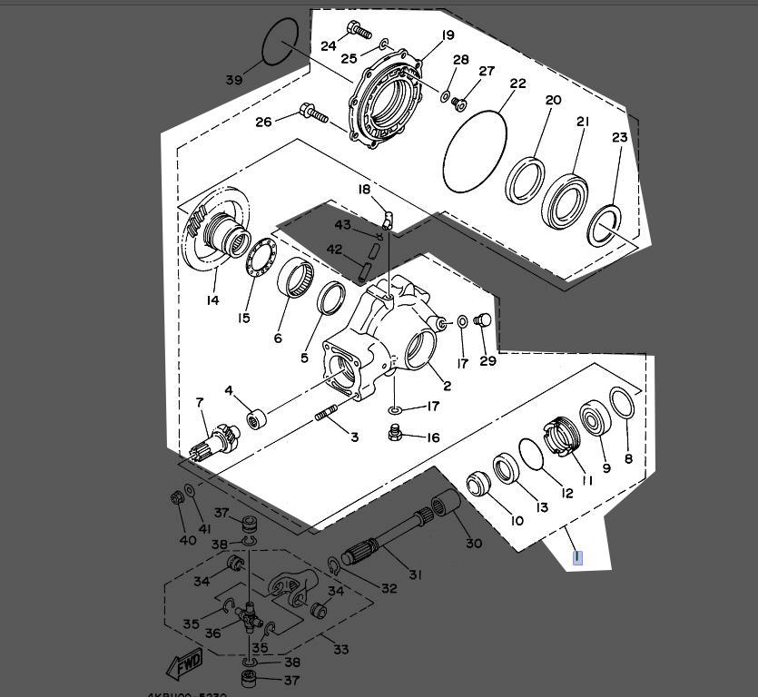 Yamaha Rear Axle Gear Case 4gb 46101 04 00 New Oem