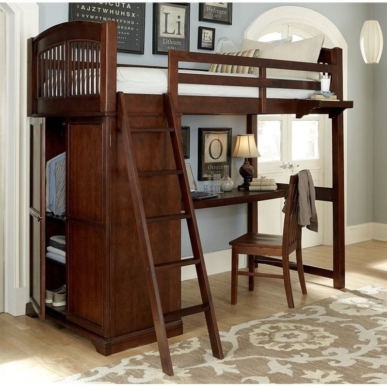NE Kids Walnut Street Locker Loft Bed with Desk and Shelf...
