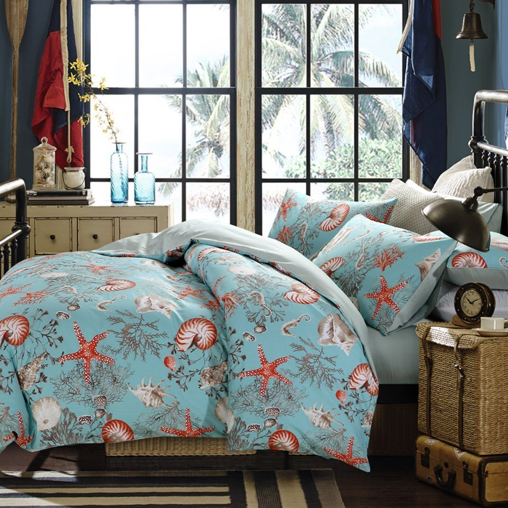 Brandream Luxury Nautical Bedding Designer Beach Themed Bedding Sets  3 Piece 100% Cotton Duvet