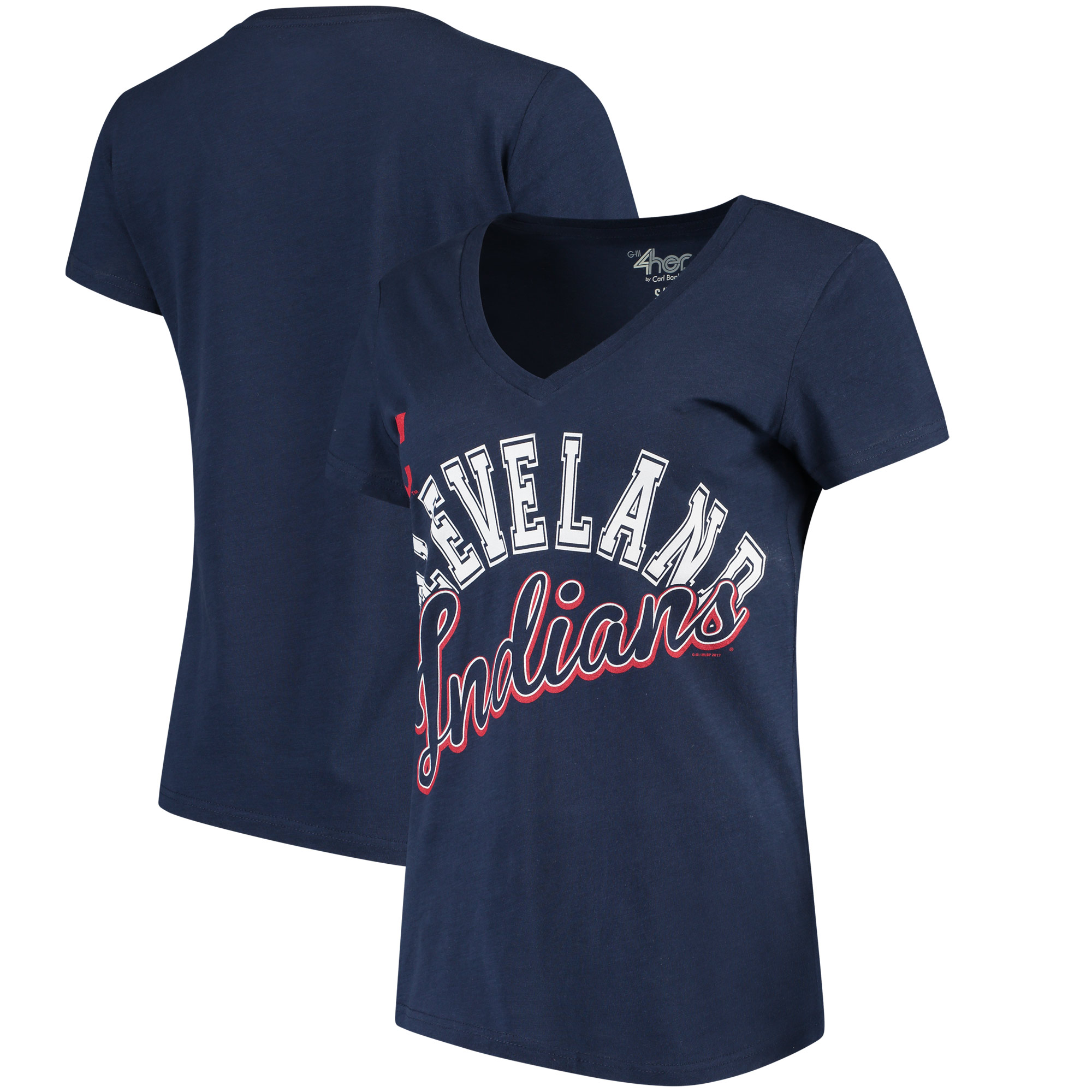 Cleveland Indians G-III 4Her by Carl Banks Women's Fair Catch V-Neck T-Shirt - Navy