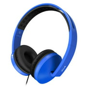 On Ear Headphones with Mic,Jelly Comb Foldable Corded Headphones Wired Headsets with Microphone, Volume Control for Cell Phone, Tablet, PC, Laptop, MP3/4, Video Game (Black & Blue)
