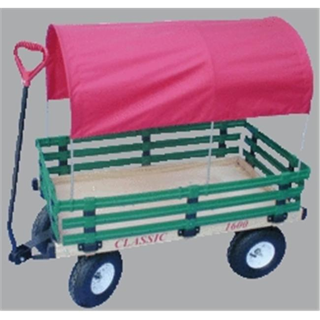 Millside Industries 1600-410-G 20 inch x 38 inch Wooden Covered Wagon with 4 inch x 10 inch Tires