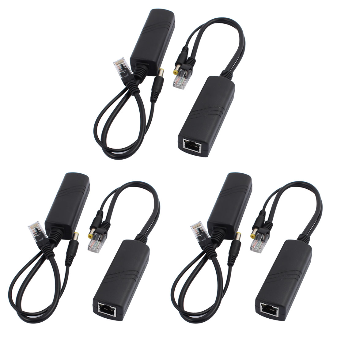 IP Camera RJ45 POE Power Over Ethernet Adapter Injector + Splitter Cable 6PCS