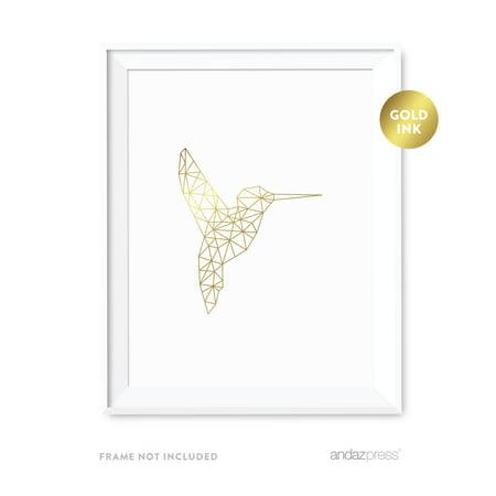 Hummingbirds Animals - Hummingbird Geometric Animal Origami Wall Art Metallic Gold Ink Print