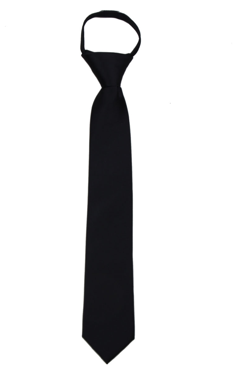Boys 14 inch Solid Color Zipper Necktie Ties - Many Colors Available