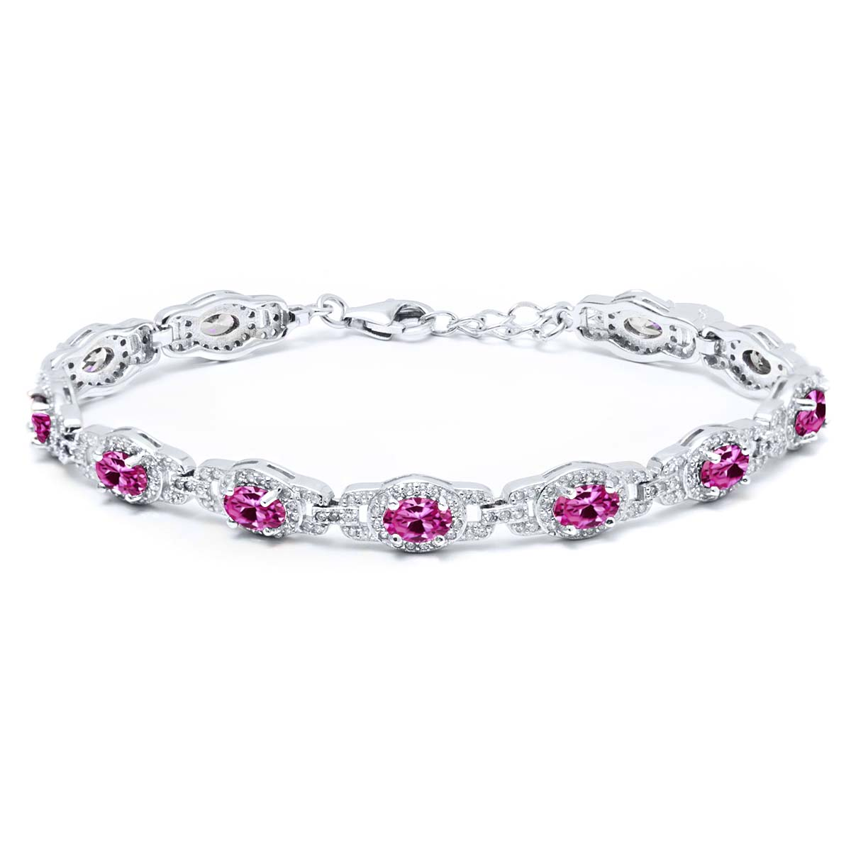 10.20 Ct Oval Pink Created Sapphire 925 Sterling Silver Bracelet by