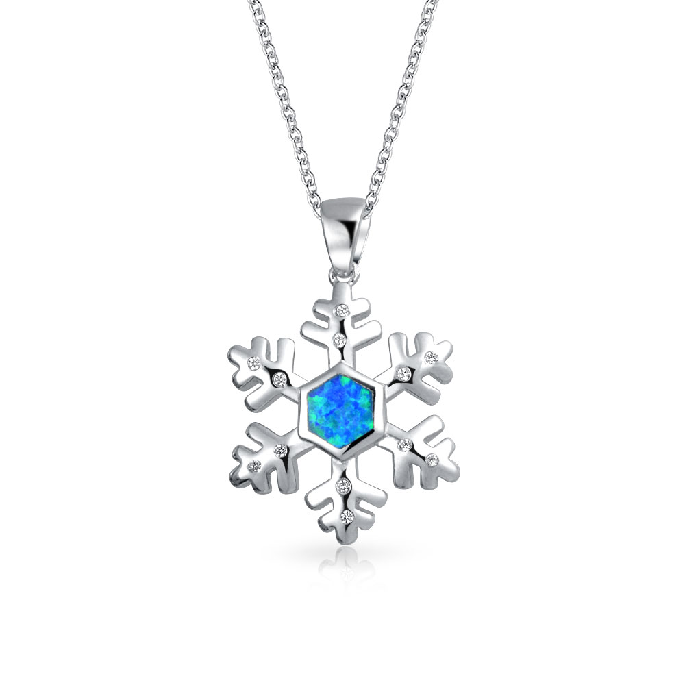 Bling Jewelry 925 Silver Synthetic Blue Opal Snowflake Pendant Cubic Zirconia Necklace 18in by Bling Jewelry