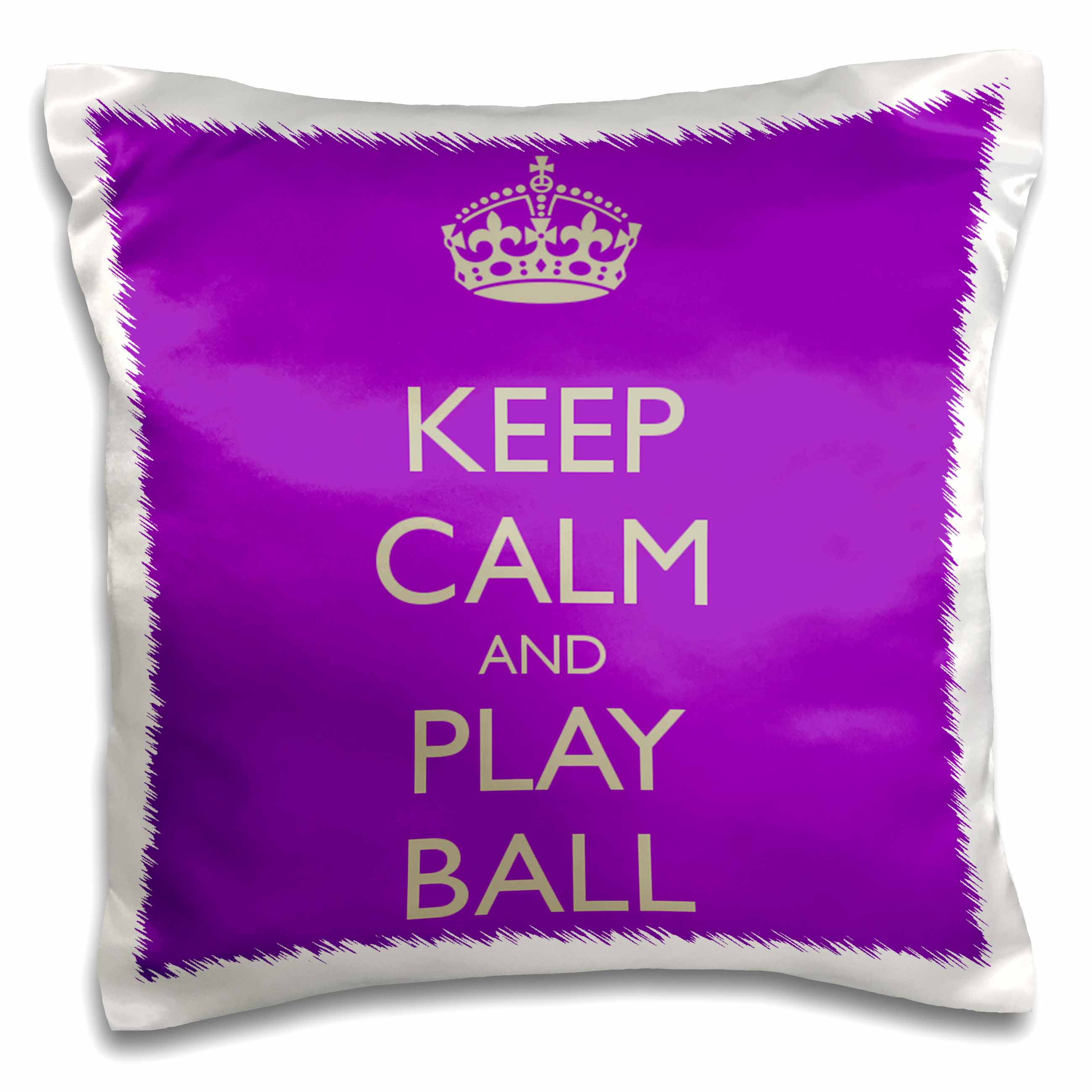 3dRose Keep calm and play ball, Purple and Silver, Pillow Case, 16 by 16-inch