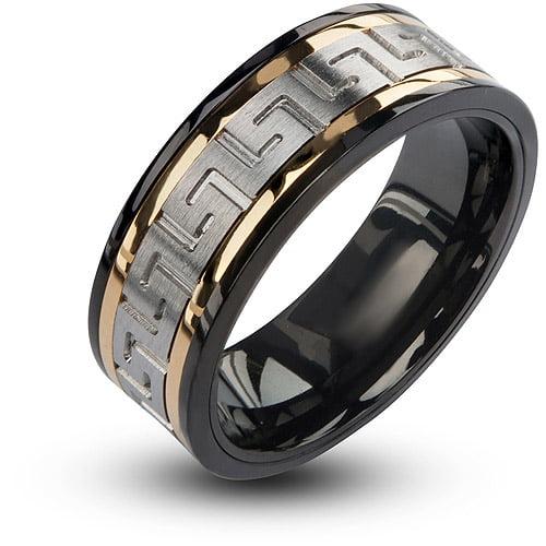 INOX Jewelry Men's Stainless Steel Black IP Gun Metal With CZ Ring