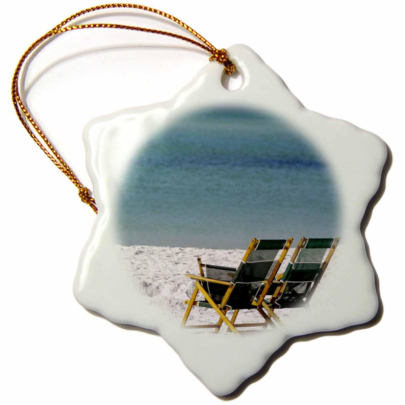 3dRose Adirondack Chairs, Fort Walton Beach, Florida - US10 FVI0018 - Franklin Viola, Snowflake Ornament, Porcelain, 3-inch