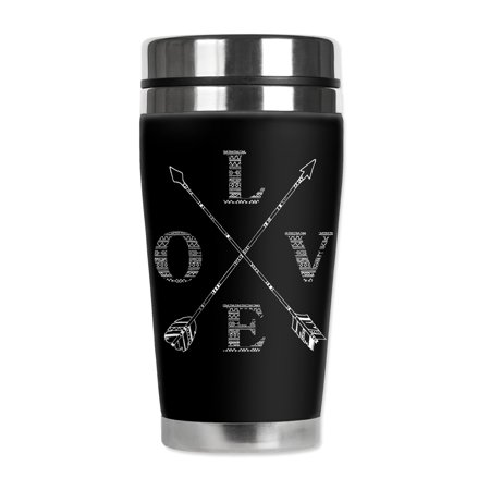 Mugzie brand 16-Ounce Stainless Steel Travel Mug with Insulated Wetsuit Cover - Love - Arrow Suit