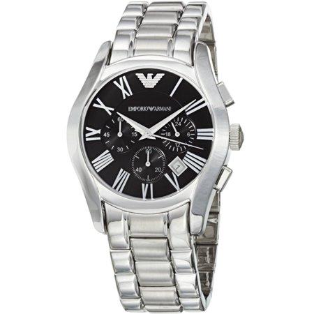 Emporio Armani Round Dial Watch - Emporio Men's Stainless Steel Chronograph Black Dial Watch AR0673
