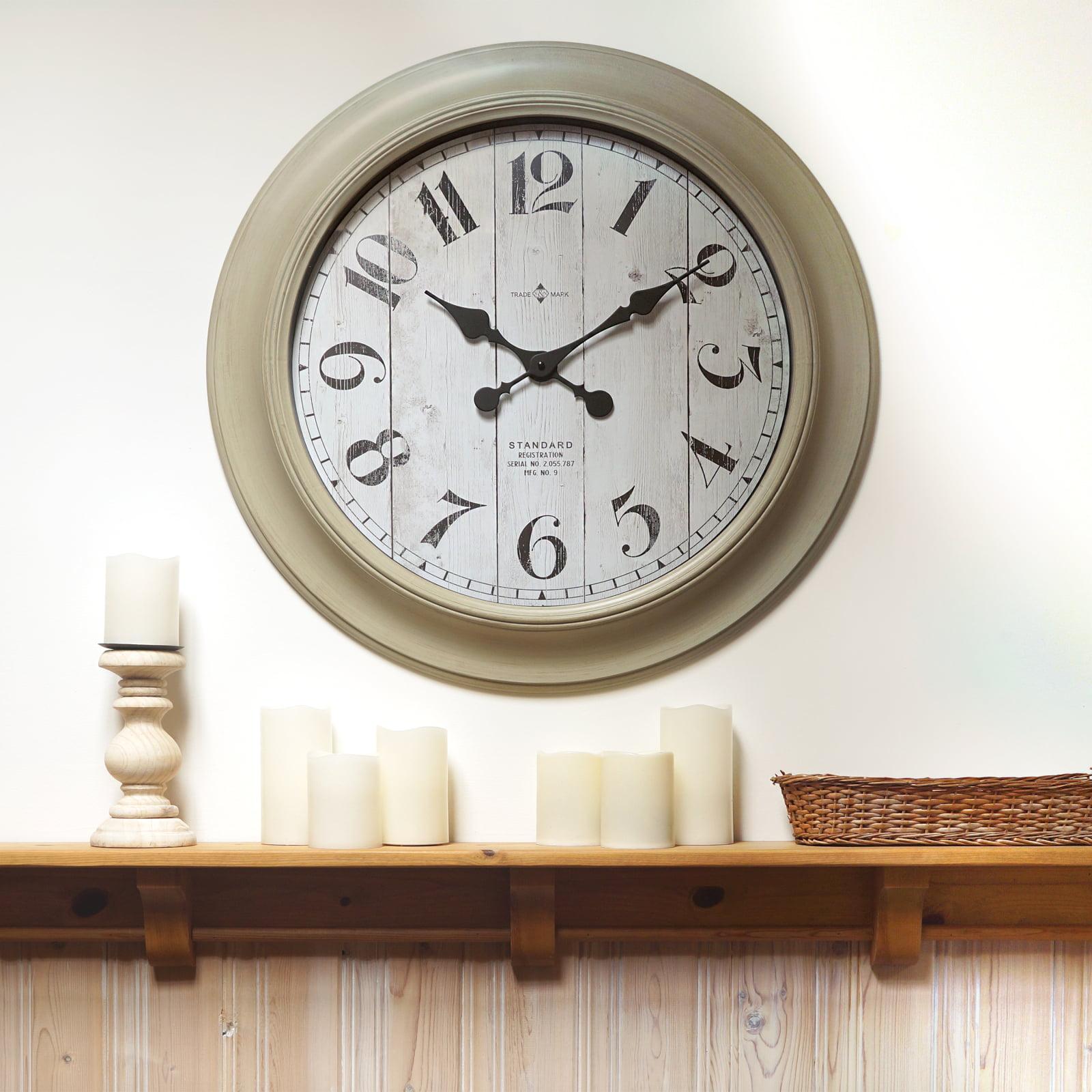 6693944bd075 Better Home & Gardens Oversized Wall Clock, 28 Inch Whitewashed Modern  Farmhouse - Walmart.com
