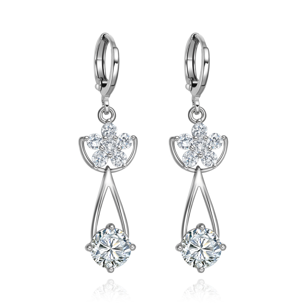 Magical Super Star Flower and Cute Tear Drop Snow White Sparkling Crystals Silver-Tone Fashion Earrings