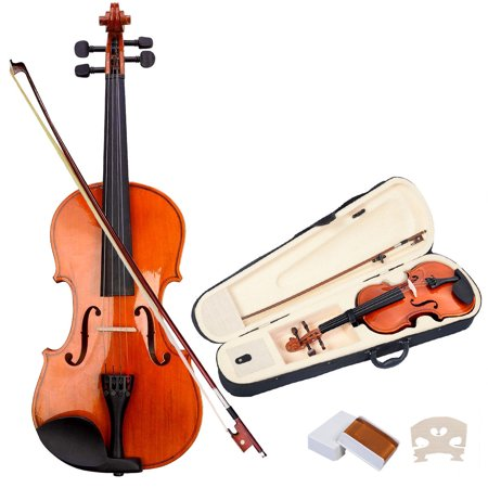 Costway Full Size 4/4 Natural Acoustic Violin Fiddle with Case Bow
