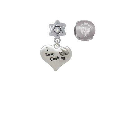 I love Cooking Heart with Chef Hat Happy Hanukkah Charm Beads (Set of 2) (Hanukkah Hat)