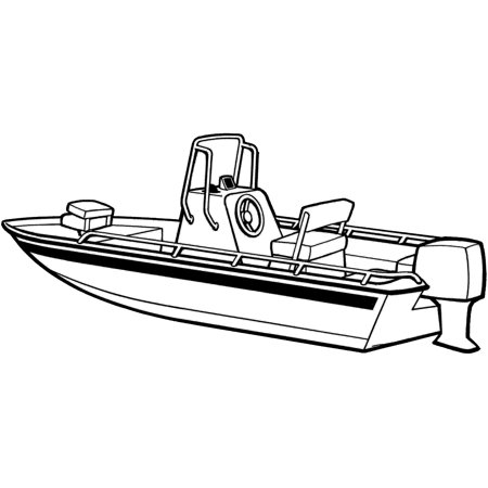Carver Styled-to-Fit Cover for V-Hull Center Console Shallow Draft Fishing Boat, Haze (V-hull Center Console)
