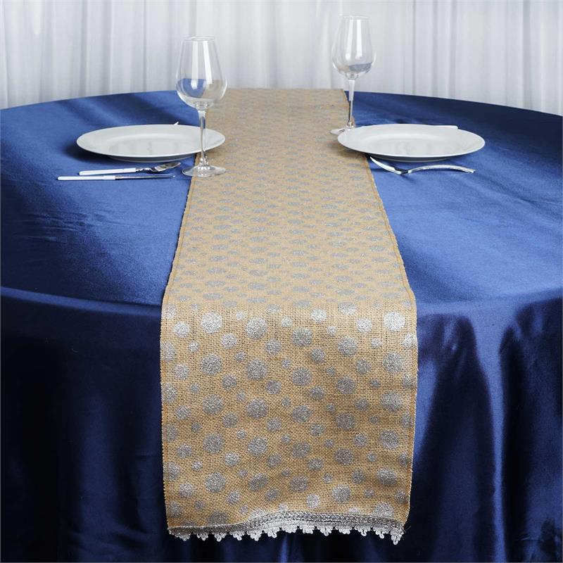 "Click here to buy BalsaCircle 12"" x 108"" Natural Burlap Table Top Runner with Polka Dots Wedding... by BalsaCircle."