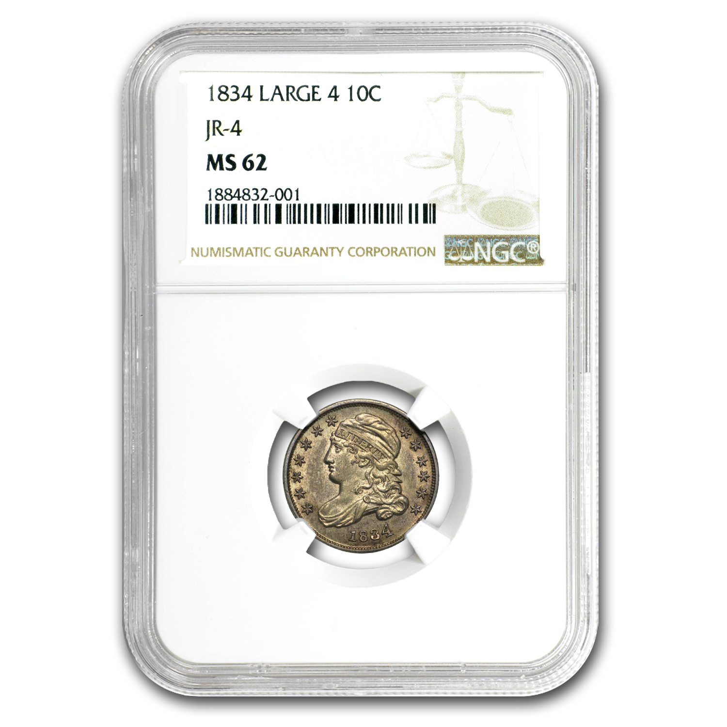 1834 Capped Bust Dime Large 4 MS-62 NGC
