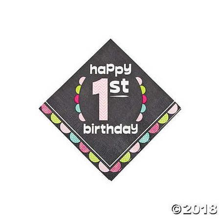 1st Birthday Girl Chalkboard Beverage Napkins - First Birthday Napkins