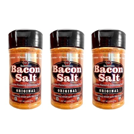 Original Bacon Salt - 3 PACK + STICKER - J&D's Low Sodium All Natural Bacon Flavored Seasoning Salts ()