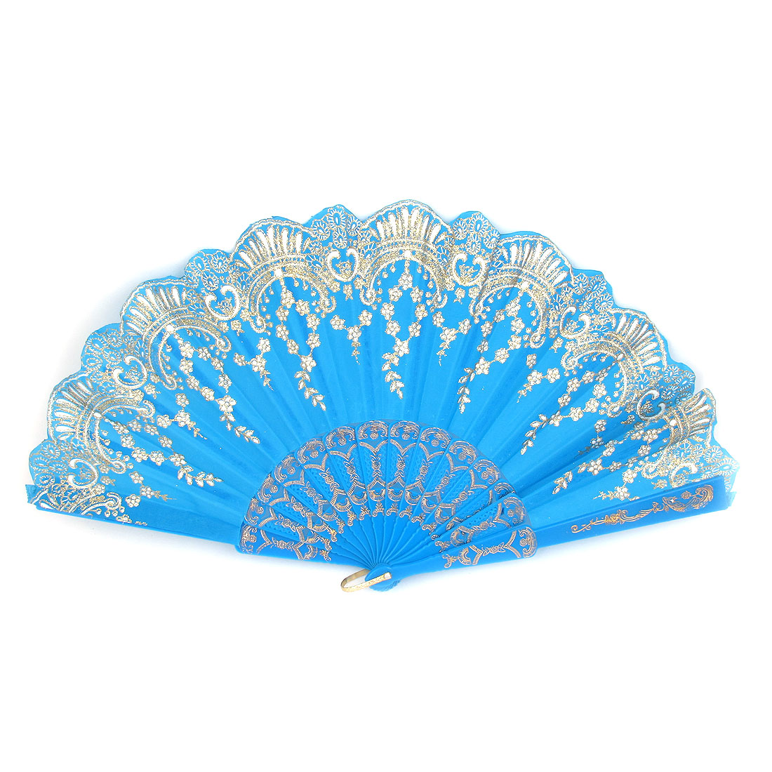 Blue Plastic Frame Glitter Powder Detail Dancing Folding Hand Fan w D Ring