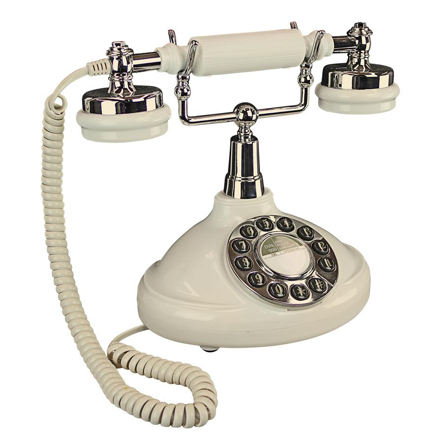 Antique Phone - White Brittany Neophone 1929 Rotary Telephone - Corded Retro Phone - Vintage Decorative Telephones