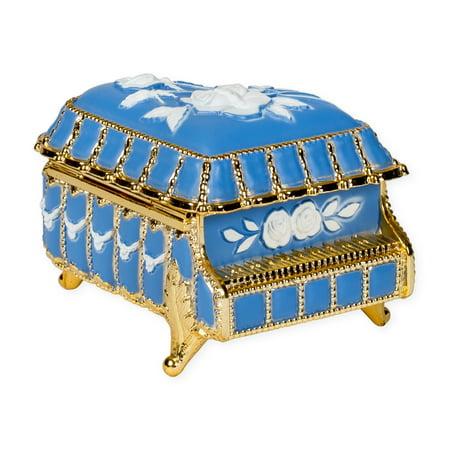 Periwinkle Blue Piano Shaped Jeweled Gold Tone Metal Music Box Plays Fur Elise Shaped Jeweled Box