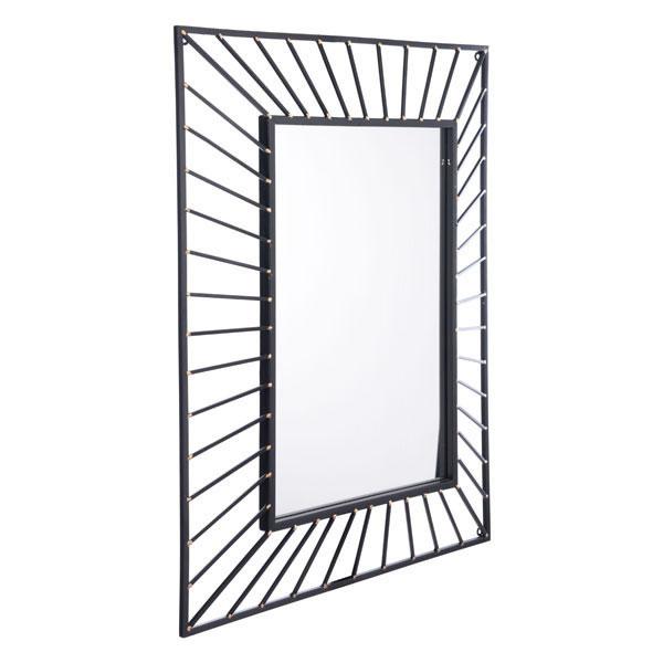 Sunburst Rectangular Mirror Black Black by Zuo Modern
