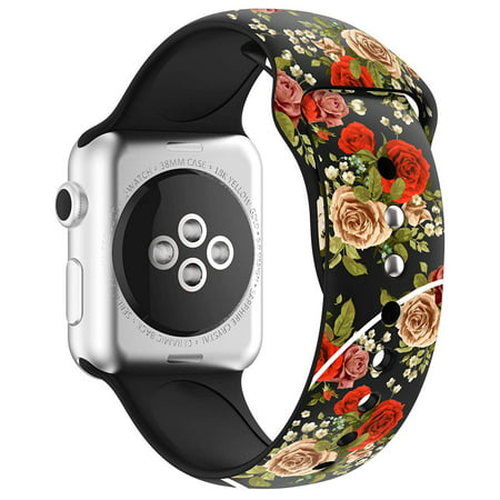 Apple Watch Bands 38mm Soft Silicone Wristband with Full Body Clear Hard Temper Glass Screen Protector for iWatch Apple Watch Series 1/2/3/Nike+ -Black Rose Floral