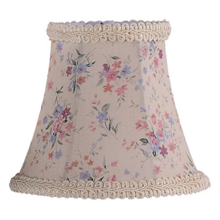 Livex Lighting Floral Print Bell Clip Shade with Fancy Trim