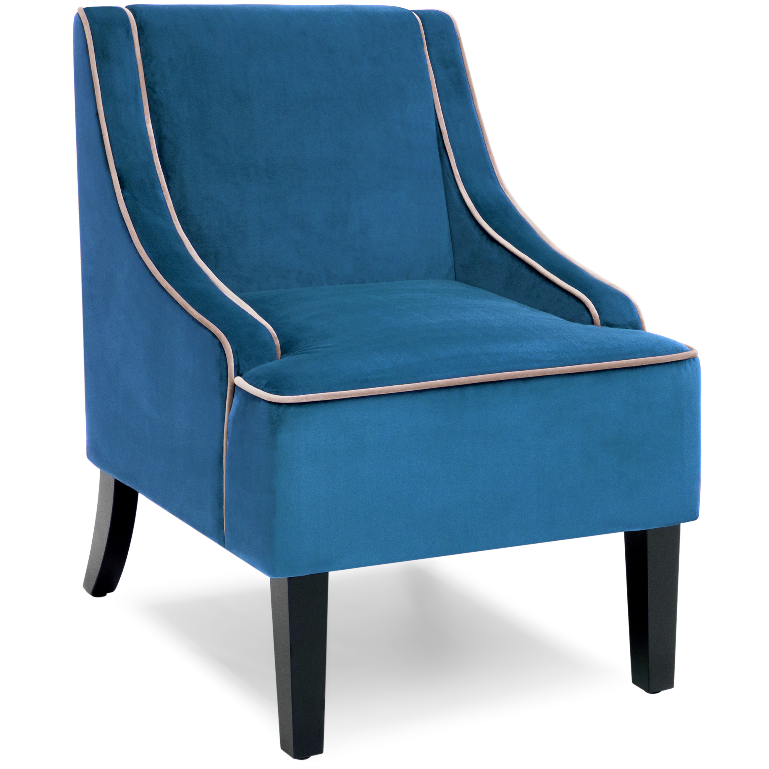 Best Choice Products Microfiber Accent Chair w/ Tapered Wood Legs (Dark Blue)