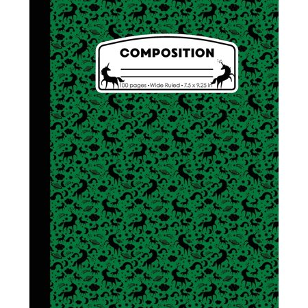 Composition: Unicorn Green Marble Composition Notebook Wide Ruled 7.5 x 9.25 in, 100 pages book for girls, kids, school, students and teachers (Green Screen Projects For High School Students)