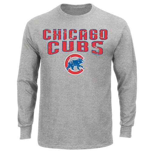 MLB - Chicago Cubs Grey The Word Long Sleeve T-Shirt