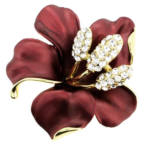 Fantasyard Goldtone White Crystal Red Hibiscus Flower Pin/ Pendant