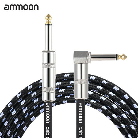 ammoon 6 Meters/ 20 Feet Electric Guitar Bass Musical Instrument Cable Cord 1/4 Inch Straight to Right Angle Plug Black White Woven Jacket