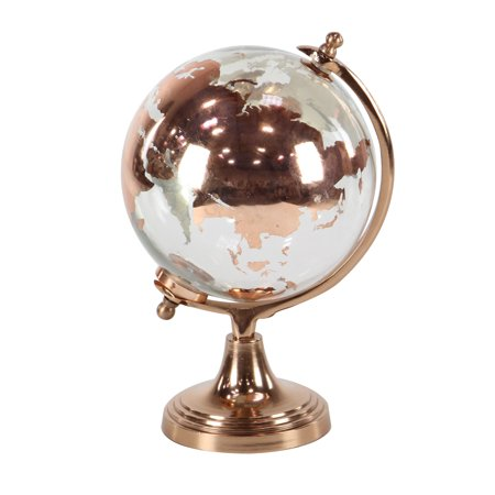 Award Glass Globe (Decmode Modern 13 X 8 Inch Copper Glass And Aluminum Globe)