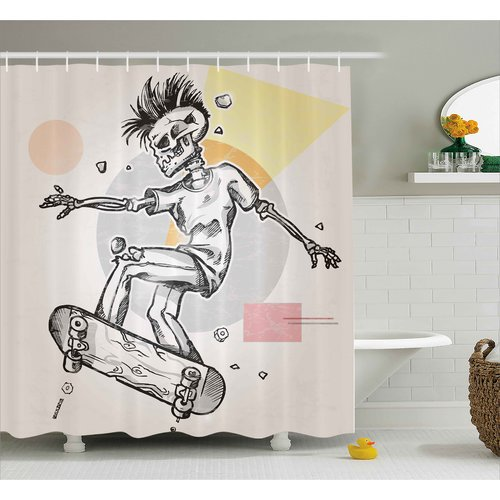 Ambesonne skull punk rocker skeleton boy on a skateboard skiing with abstract background shower curtain