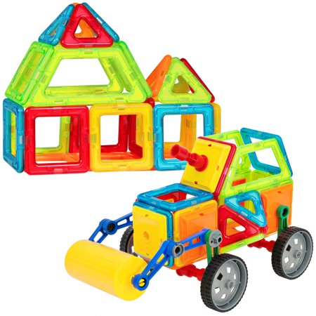 Magnetic Building - Best Choice Products 76-Piece Kids Educational STEM Magnetic Building Block Tiles Toy Set for Color/Shape Recognition, Motor Development w/ Steamroller Truck - Multicolor