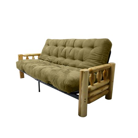 Big Sky 10-inch Loft Inner Spring Futon Sofa Sleeper Bed, Full-size, Suede Olive Green
