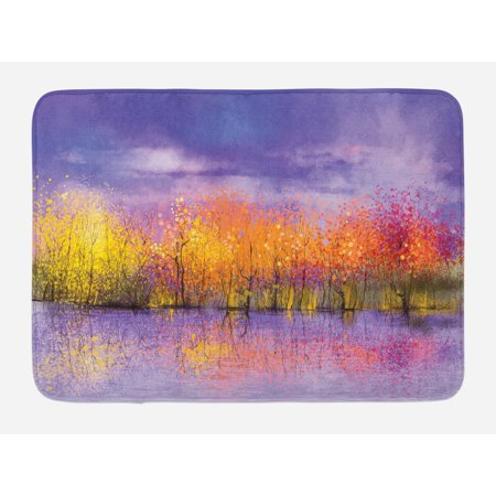 Autumn Bath Mat, Seasonal Landscape Paint with Shady Fall Trees by River Pastel Artwork Print, Non-Slip Plush Mat Bathroom Kitchen Laundry Room Decor, 29.5 X 17.5 Inches, Lavander Yellow, Ambesonne