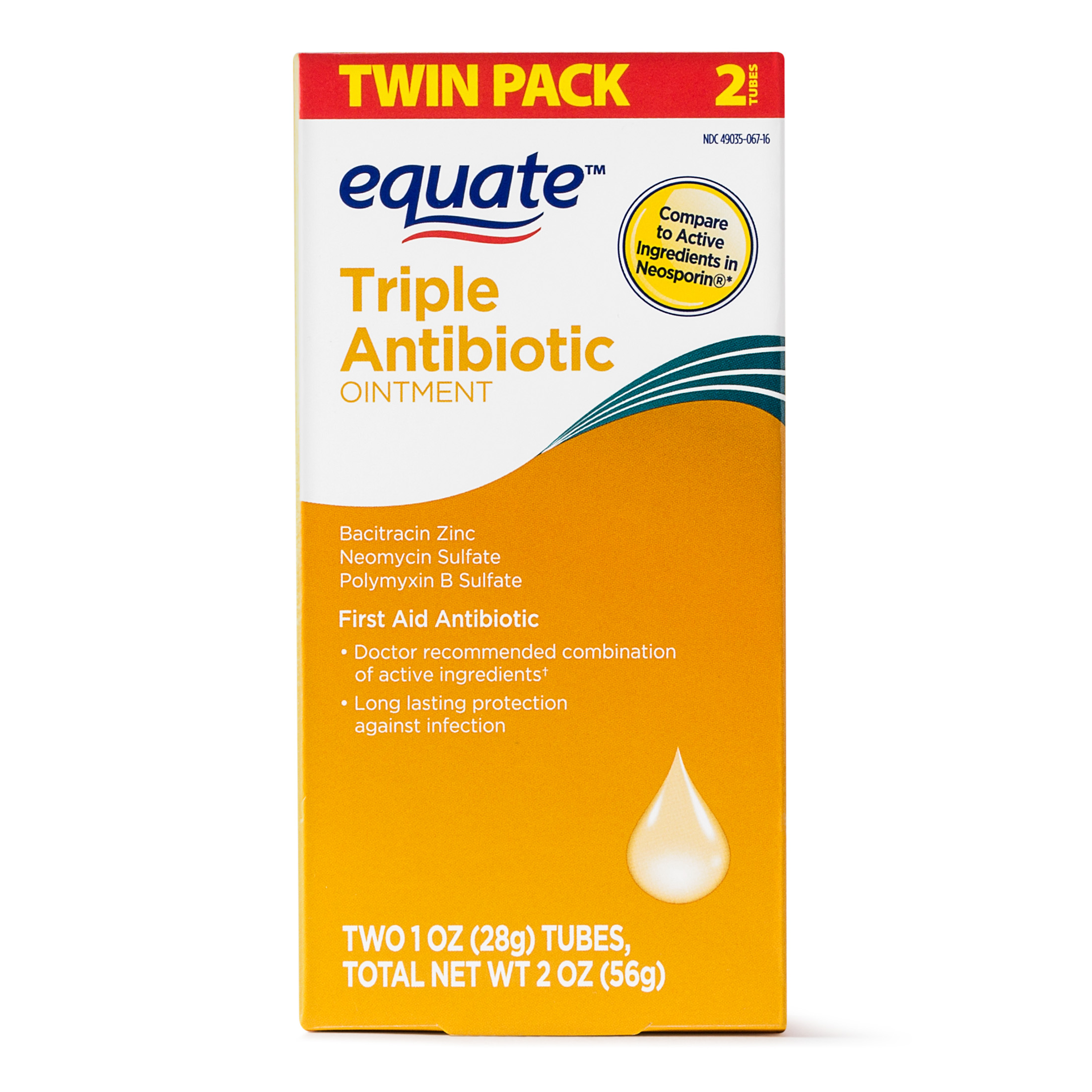 Equate First Aid Antibiotic Ointment, 2 Oz, 2 Ct